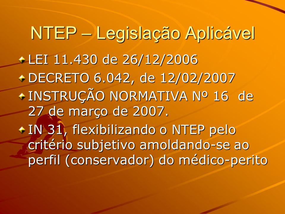 NTEP – Legislação Aplicável LEI 11.430 de 26/12/2006 DECRETO 6.042, de 12/02/2007 INSTRUÇÃO NORMATIVA Nº 16 de 27 de março de 2007. IN 31, flexibiliza
