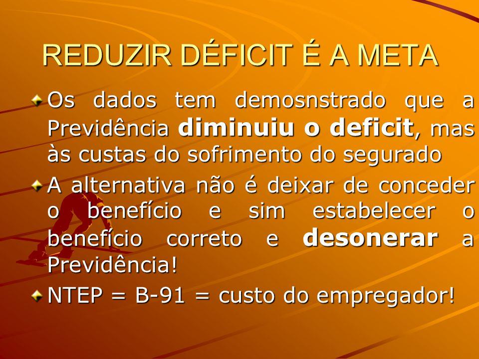 REDUZIR DÉFICIT É A META Os dados tem demosnstrado que a Previdência diminuiu o deficit, mas às custas do sofrimento do segurado A alternativa não é d