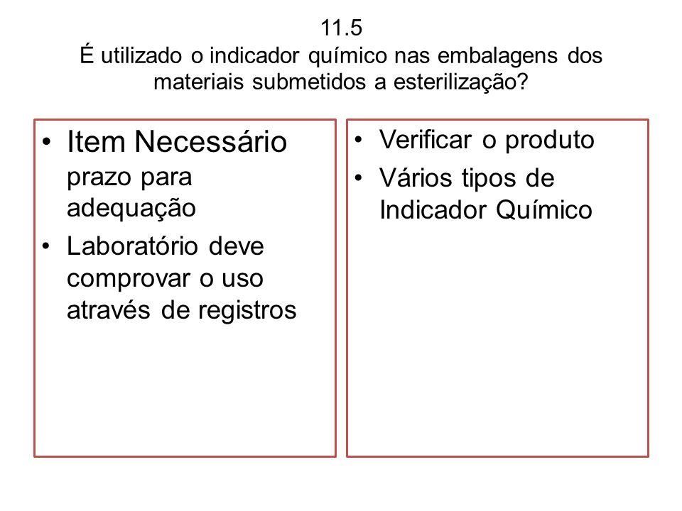 11.5 É utilizado o indicador químico nas embalagens dos materiais submetidos a esterilização? Item Necessário prazo para adequação Laboratório deve co