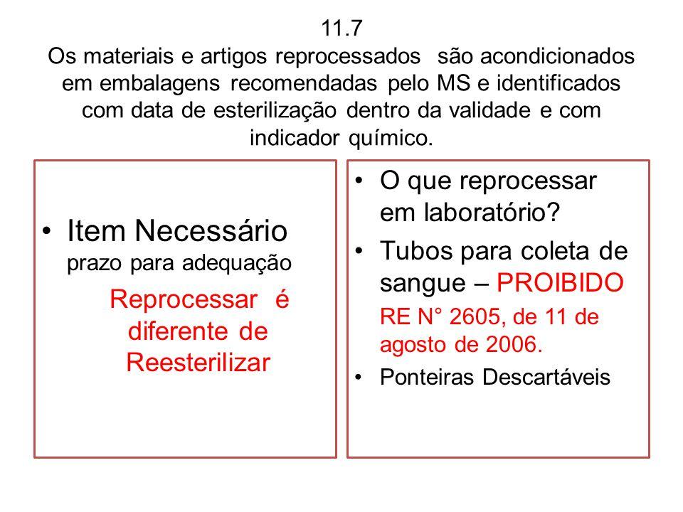 11.7 Os materiais e artigos reprocessados são acondicionados em embalagens recomendadas pelo MS e identificados com data de esterilização dentro da va