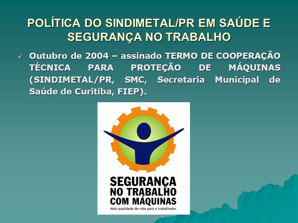 POLÍTICA DO SINDIMETAL/PR EM SAÚDE E SEGURANÇA NO TRABALHO Outubro de 2004 – assinado TERMO DE COOPERAÇÃO TÉCNICA PARA PROTEÇÃO DE MÁQUINAS (SINDIMETA