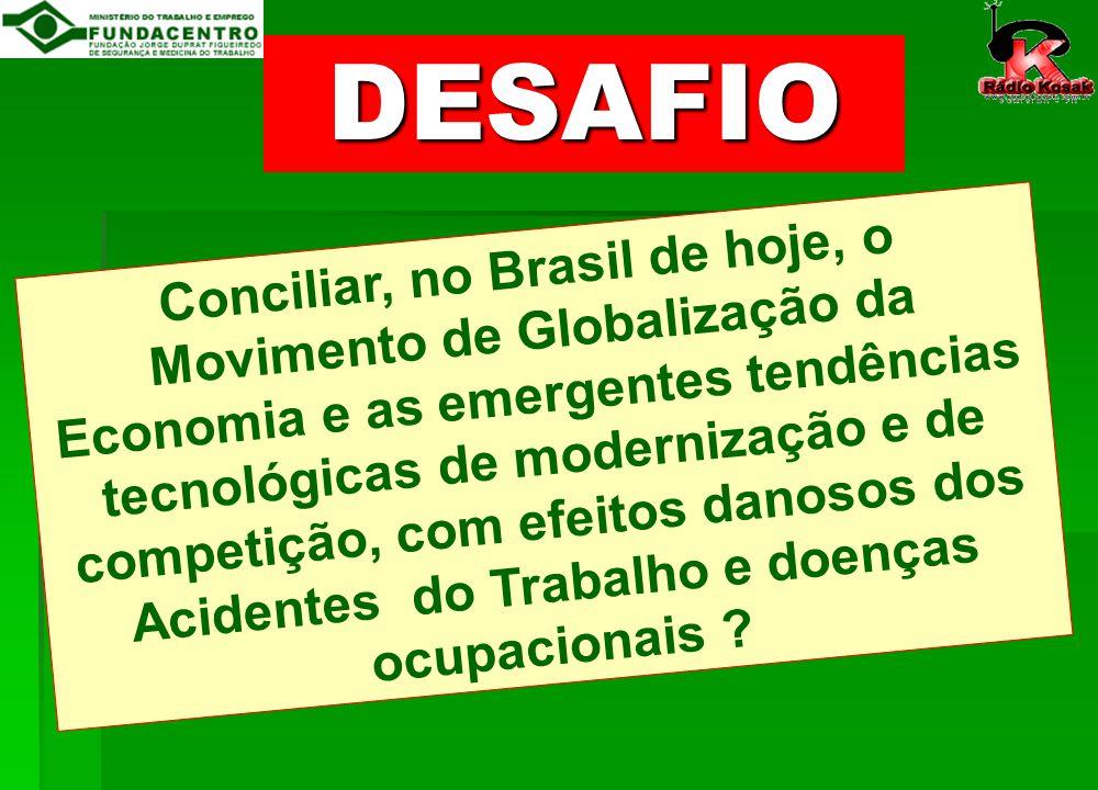 Conciliar, no Brasil de hoje, o Movimento de Globalização da Economia e as emergentes tendências tecnológicas de modernização e de competição, com efeitos danosos dos Acidentes do Trabalho e doenças ocupacionais .