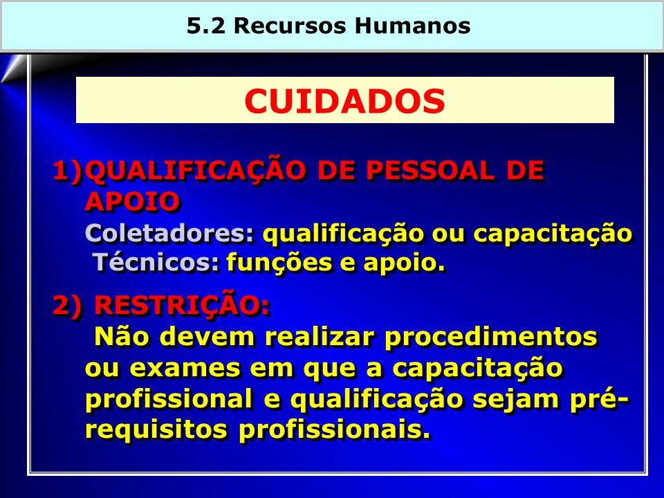 1)QUALIFICAÇÃO DE PESSOAL DE APOIO Coletadores: qualificação ou capacitação Técnicos: funções e apoio. Técnicos: funções e apoio. 2) RESTRIÇÃO: Não de
