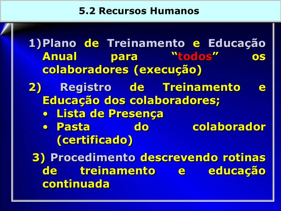 1)Plano de Treinamento e Educação Anual para todos os colaboradores (execução) 2) Registro de Treinamento e Educação dos colaboradores; Lista de Presença Pasta do colaborador (certificado) 3) Procedimento descrevendo rotinas de treinamento e educação continuada 1)Plano de Treinamento e Educação Anual para todos os colaboradores (execução) 2) Registro de Treinamento e Educação dos colaboradores; Lista de Presença Pasta do colaborador (certificado) 3) Procedimento descrevendo rotinas de treinamento e educação continuada 5.2 Recursos Humanos