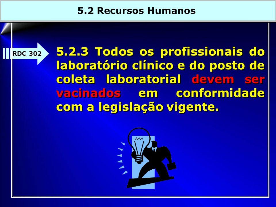 RDC 302 5.2.3 Todos os profissionais do laboratório clínico e do posto de coleta laboratorial devem ser vacinados em conformidade com a legislação vig