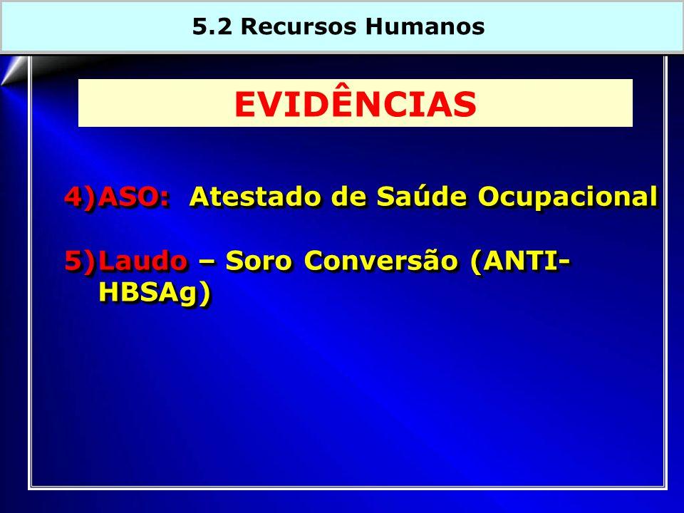 4)ASO: Atestado de Saúde Ocupacional 5)Laudo – Soro Conversão (ANTI- HBSAg) 4)ASO: Atestado de Saúde Ocupacional 5)Laudo – Soro Conversão (ANTI- HBSAg