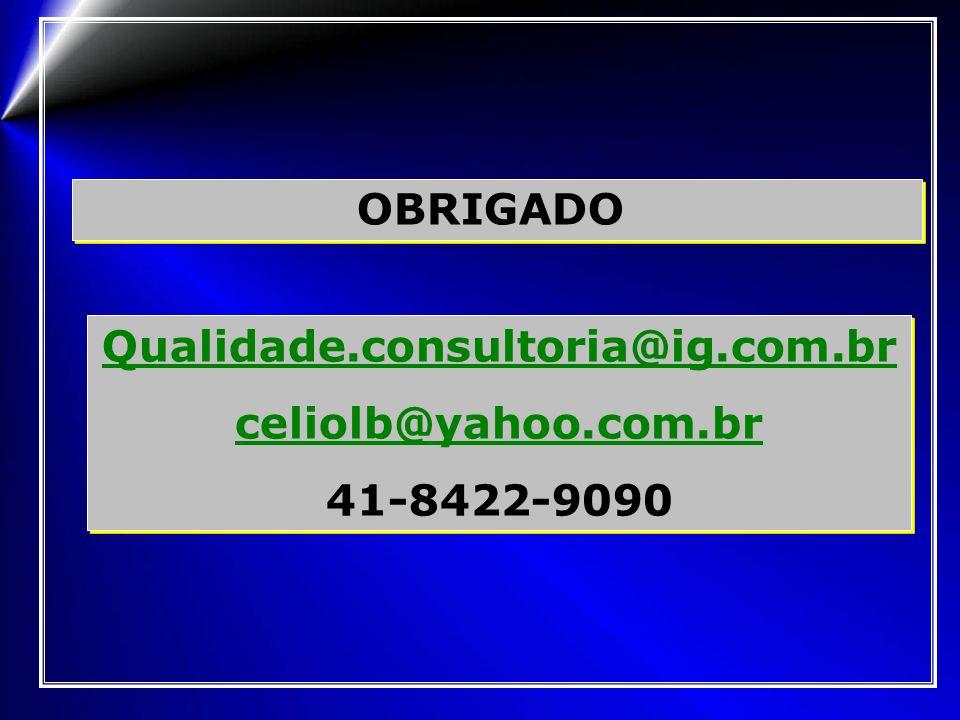 OBRIGADO Qualidade.consultoria@ig.com.br celiolb@yahoo.com.br 41-8422-9090 Qualidade.consultoria@ig.com.br celiolb@yahoo.com.br 41-8422-9090