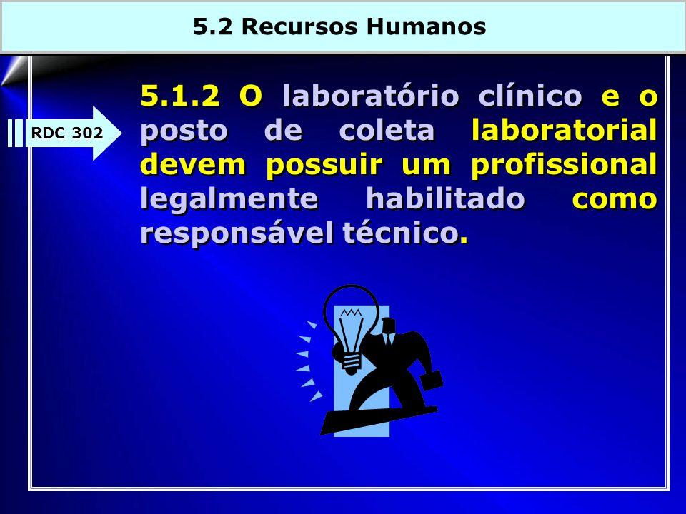 5.1.2 O laboratório clínico e o posto de coleta laboratorial devem possuir um profissional legalmente habilitado como responsável técnico.
