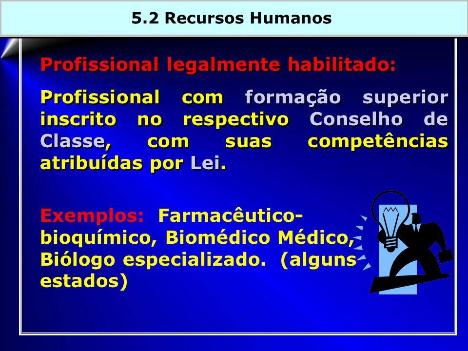 Profissional legalmente habilitado: Profissional com formação superior inscrito no respectivo Conselho de Classe, com suas competências atribuídas por