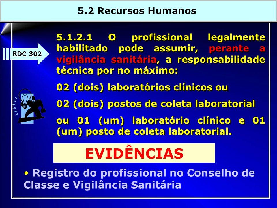 5.1.2.1 O profissional legalmente habilitado pode assumir, perante a vigilância sanitária, a responsabilidade técnica por no máximo: 02 (dois) laborat