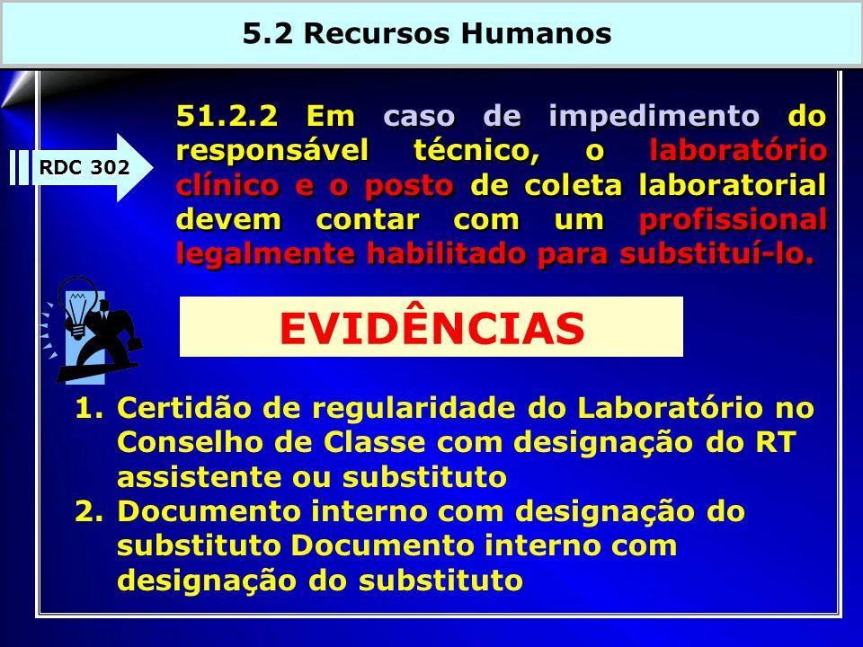 51.2.2 Em caso de impedimento do responsável técnico, o laboratório clínico e o posto de coleta laboratorial devem contar com um profissional legalmente habilitado para substituí-lo.