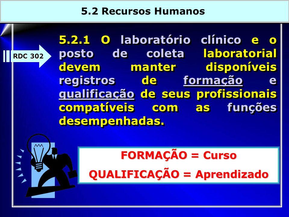 5.2.1 O laboratório clínico e o posto de coleta laboratorial devem manter disponíveis registros de formação e qualificação de seus profissionais compa