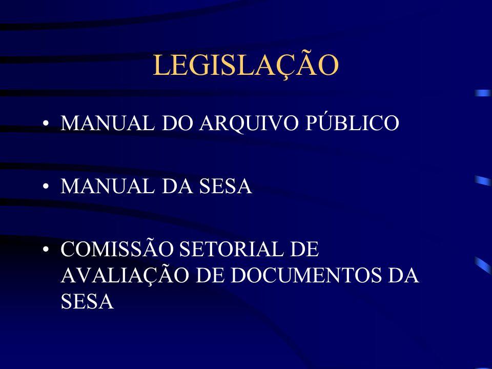 LEGISLAÇÃO MANUAL DO ARQUIVO PÚBLICO MANUAL DA SESA COMISSÃO SETORIAL DE AVALIAÇÃO DE DOCUMENTOS DA SESA