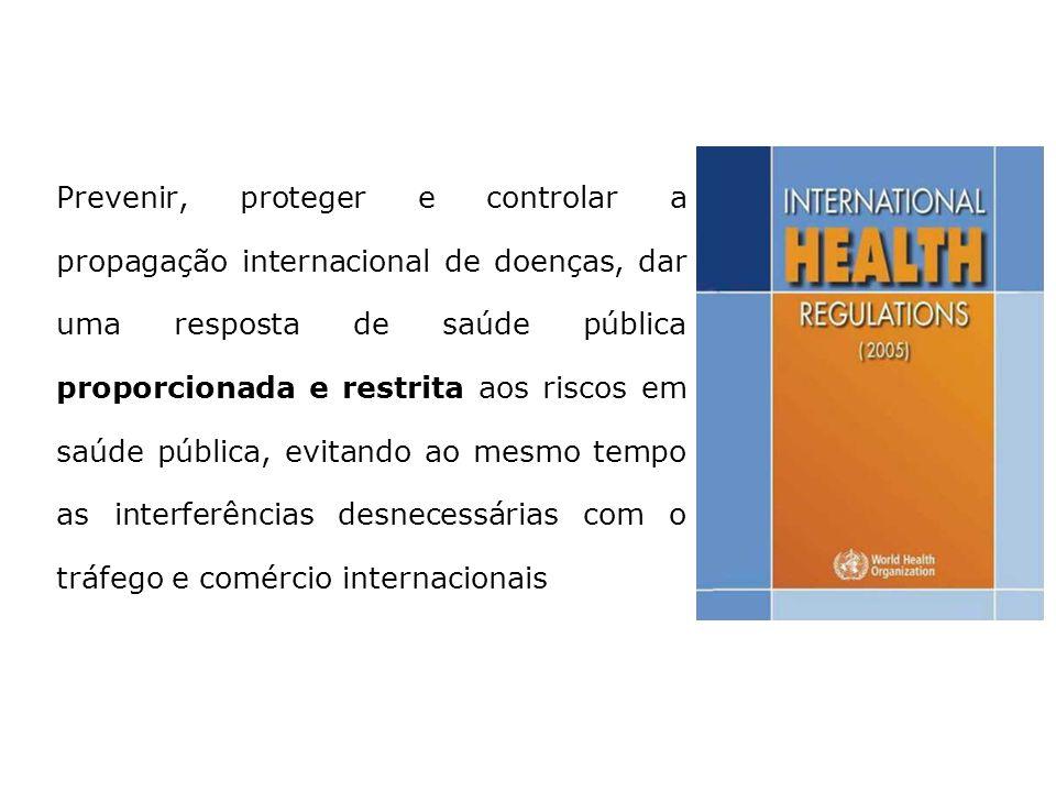 Finalidade e alcance do RSI (2005) Prevenir, proteger e controlar a propagação internacional de doenças, dar uma resposta de saúde pública proporciona
