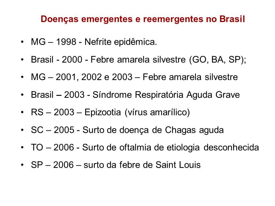 Doenças emergentes e reemergentes no Brasil MG – 1998 - Nefrite epidêmica. Brasil - 2000 - Febre amarela silvestre (GO, BA, SP); MG – 2001, 2002 e 200