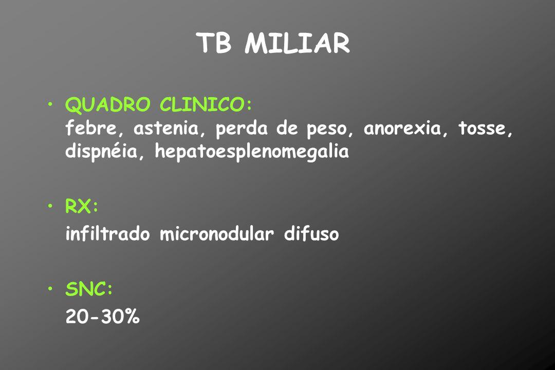 TB MILIAR QUADRO CLINICO: febre, astenia, perda de peso, anorexia, tosse, dispnéia, hepatoesplenomegalia RX: infiltrado micronodular difuso SNC: 20-30