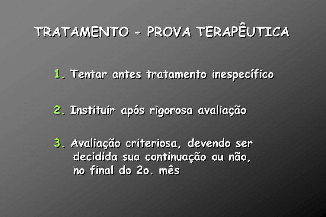 TRATAMENTO - PROVA TERAPÊUTICA 2. Instituir após rigorosa avaliação 1. Tentar antes tratamento inespecífico 3. Avaliação criteriosa, devendo ser decid