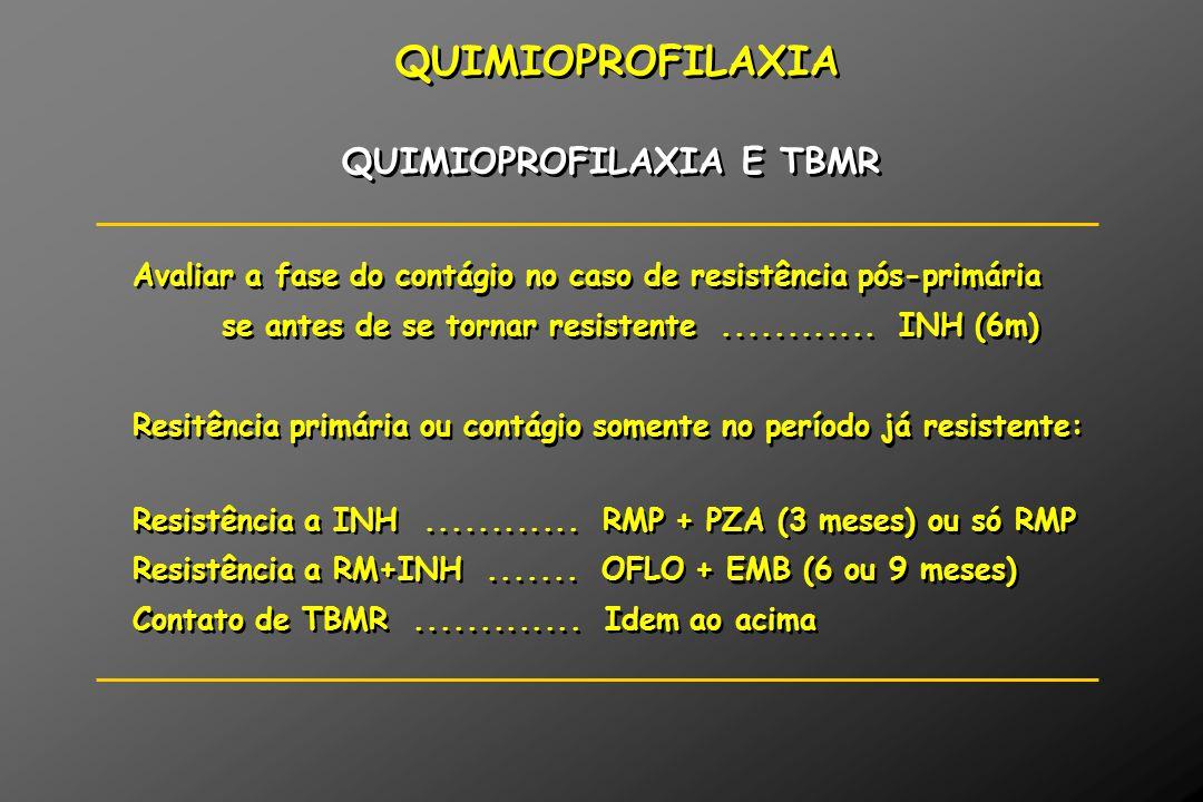 QUIMIOPROFILAXIA QUIMIOPROFILAXIA E TBMR Avaliar a fase do contágio no caso de resistência pós-primária se antes de se tornar resistente............ I