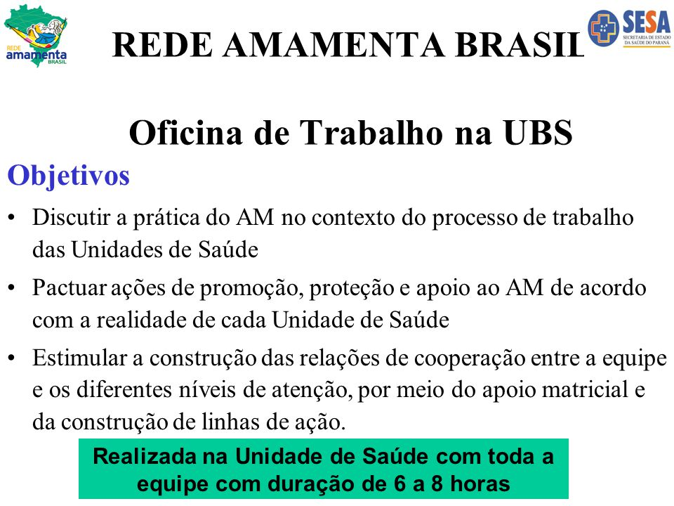 REDE AMAMENTA BRASIL Oficina de Trabalho na UBS Objetivos Discutir a prática do AM no contexto do processo de trabalho das Unidades de Saúde Pactuar a