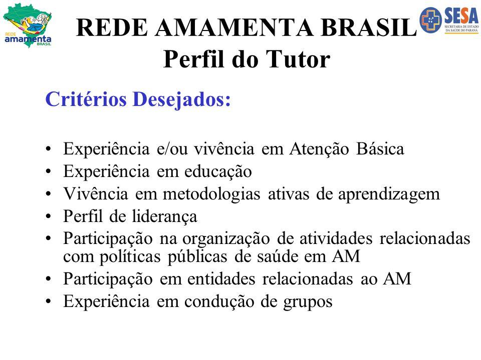 REDE AMAMENTA BRASIL Perfil do Tutor Critérios Desejados: Experiência e/ou vivência em Atenção Básica Experiência em educação Vivência em metodologias
