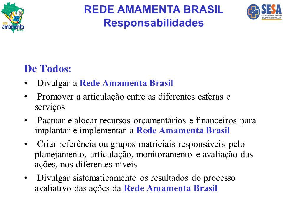 De Todos: Divulgar a Rede Amamenta Brasil Promover a articulação entre as diferentes esferas e serviços Pactuar e alocar recursos orçamentários e fina