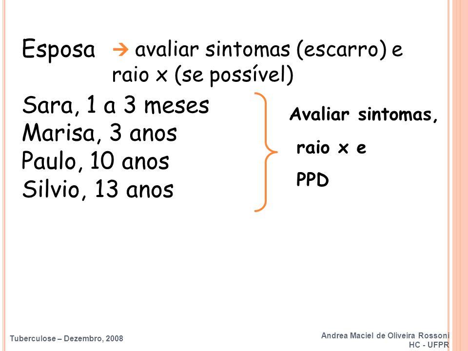 Tuberculose – Dezembro, 2008 Avaliar sintomas, raio x e PPD Esposa Sara, 1 a 3 meses Marisa, 3 anos Paulo, 10 anos Silvio, 13 anos  avaliar sintomas
