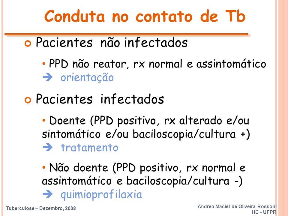 Tuberculose – Dezembro, 2008 Conduta no contato de Tb Pacientes não infectados PPD não reator, rx normal e assintomático  orientação Pacientes infect