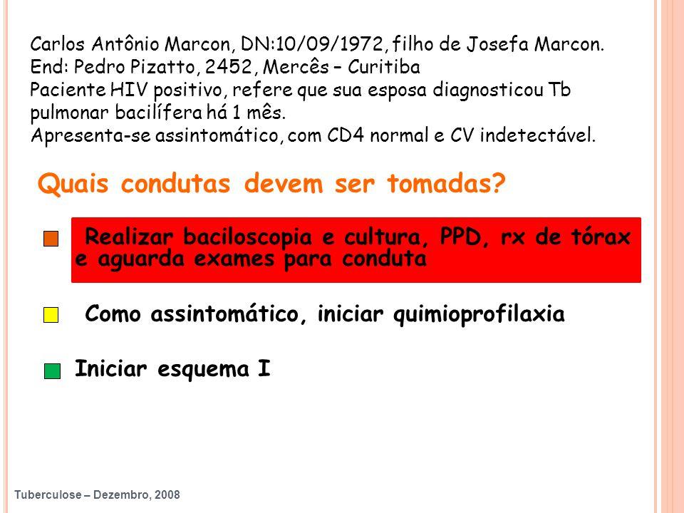 Tuberculose – Dezembro, 2008 Carlos Antônio Marcon, DN:10/09/1972, filho de Josefa Marcon. End: Pedro Pizatto, 2452, Mercês – Curitiba Paciente HIV po