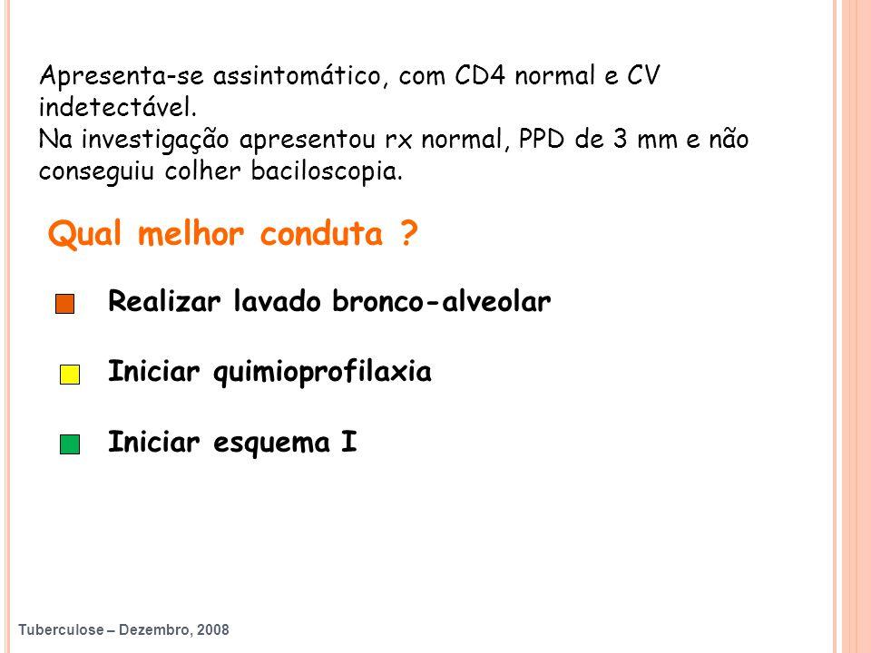 Tuberculose – Dezembro, 2008 Apresenta-se assintomático, com CD4 normal e CV indetectável. Na investigação apresentou rx normal, PPD de 3 mm e não con