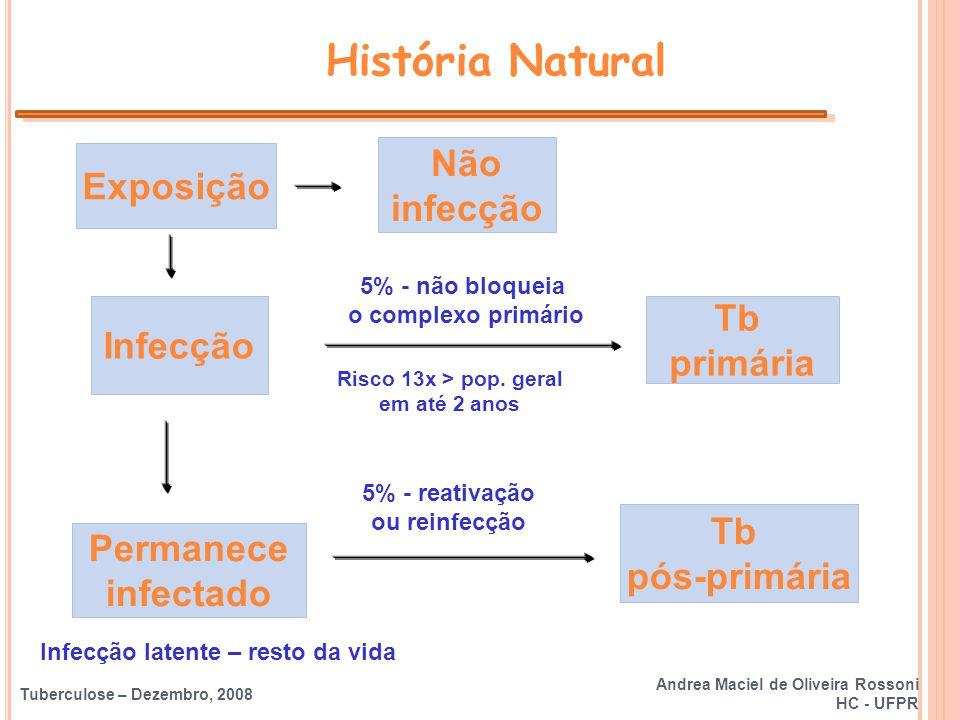 Tuberculose – Dezembro, 2008 Exposição Infecção Não infecção Permanece infectado História Natural Andrea Maciel de Oliveira Rossoni HC - UFPR Risco 13
