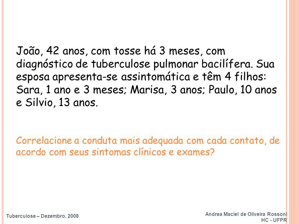 Tuberculose – Dezembro, 2008 Tuberculose Congênita RN de mãe com tuberculose bacilífera * Avaliação clínico – radiológica Investigar e avaliar tratamento Não vacinar Quimioprofilaxia (3m) PPD Normal Anormal Reator Não reator Quimioprofilaxia Vacinar (3m) (BCG) *Amamentar c/ máscara Andrea Maciel de Oliveira Rossoni HC - UFPR