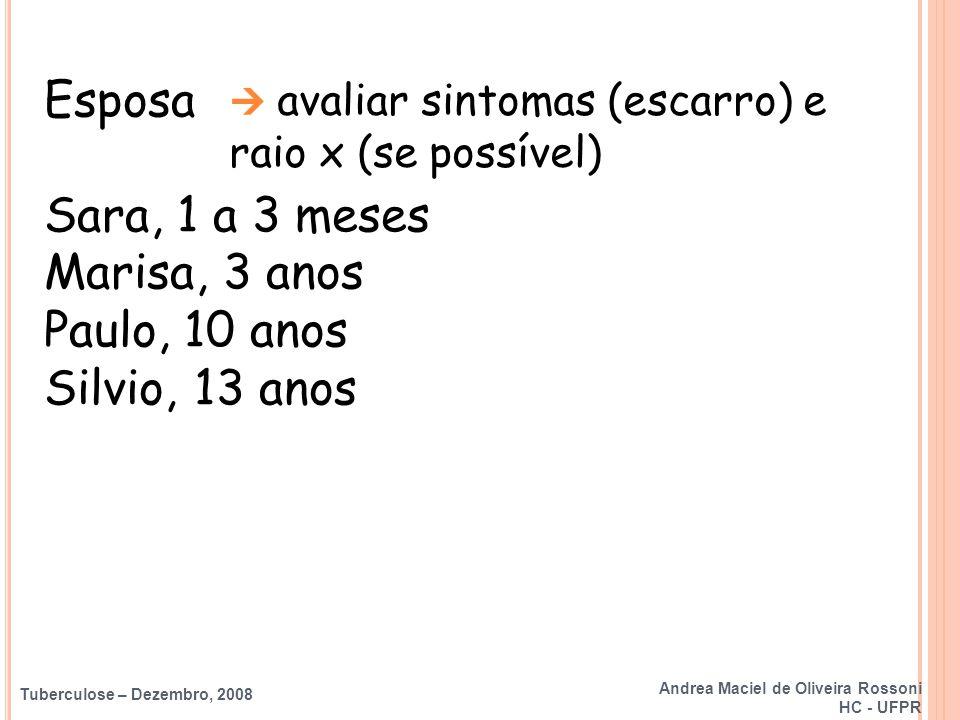 Tuberculose – Dezembro, 2008 Esposa Sara, 1 a 3 meses Marisa, 3 anos Paulo, 10 anos Silvio, 13 anos  avaliar sintomas (escarro) e raio x (se possível