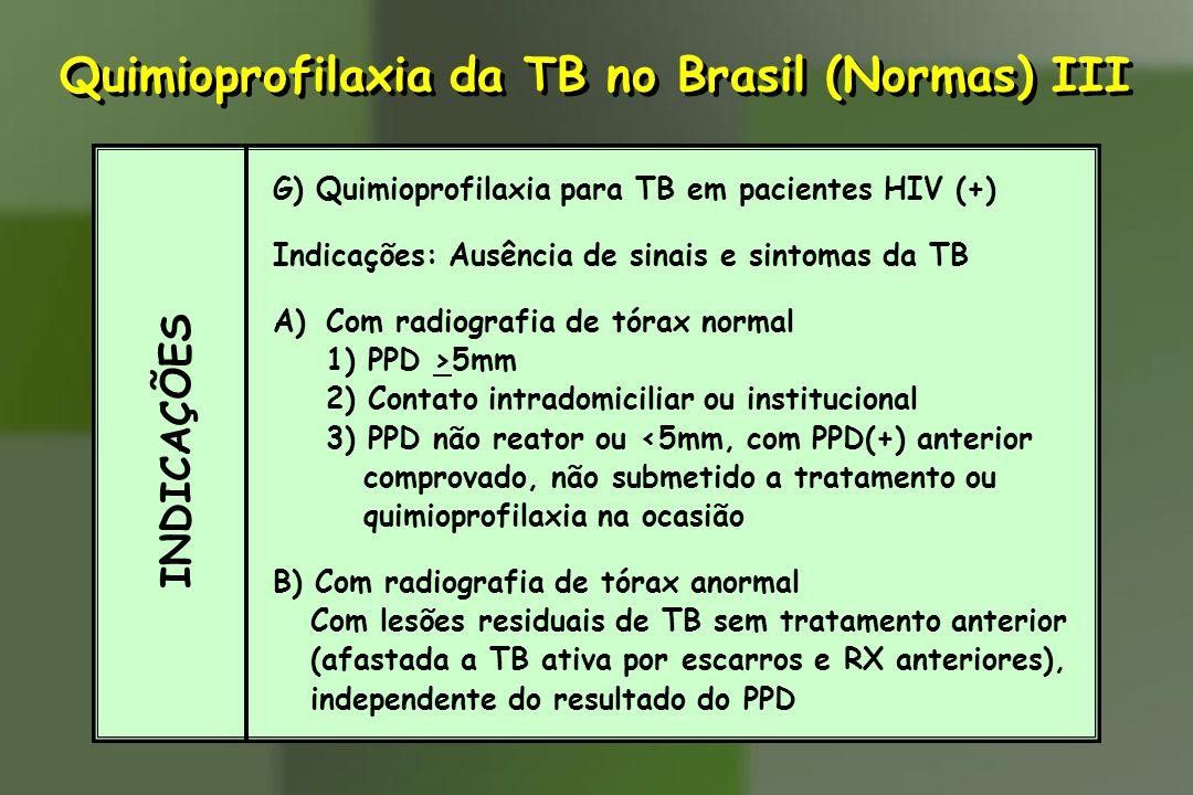INDICAÇÕES G) Quimioprofilaxia para TB em pacientes HIV (+) Indicações: Ausência de sinais e sintomas da TB A)Com radiografia de tórax normal 1) PPD >