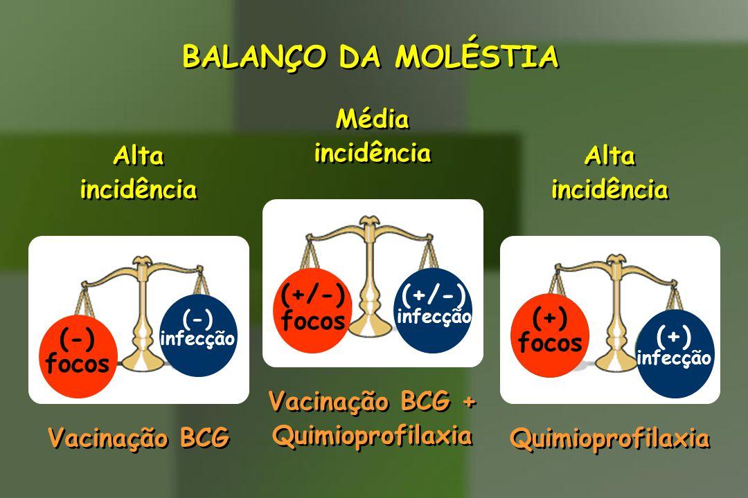 BALANÇO DA MOLÉSTIA Alta incidência Alta incidência (-) focos (-) infecção Vacinação BCG (+) focos (+) infecção Alta incidência Alta incidência Quimio