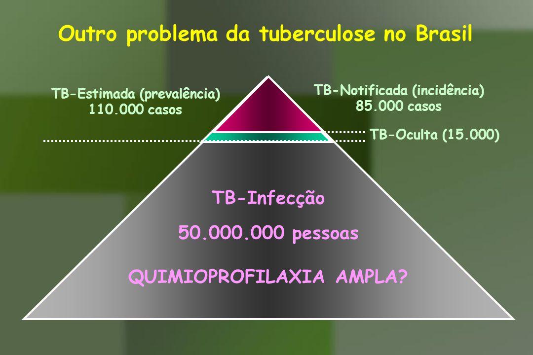 TB-Estimada (prevalência) 110.000 casos Outro problema da tuberculose no Brasil TB-Oculta (15.000) TB-Notificada (incidência) 85.000 casos TB-Infecção