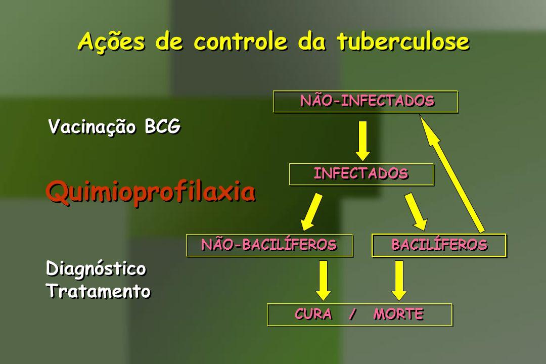 Ações de controle da tuberculose Vacinação BCG Quimioprofilaxia Diagnóstico Tratamento Diagnóstico Tratamento NÃO-INFECTADOS CURA / MORTE NÃO-BACILÍFE