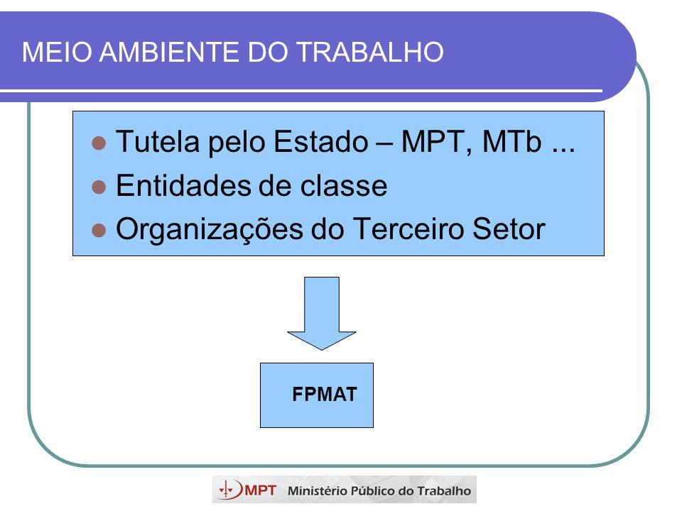 MEIO AMBIENTE DO TRABALHO Tutela pelo Estado – MPT, MTb... Entidades de classe Organizações do Terceiro Setor FPMAT