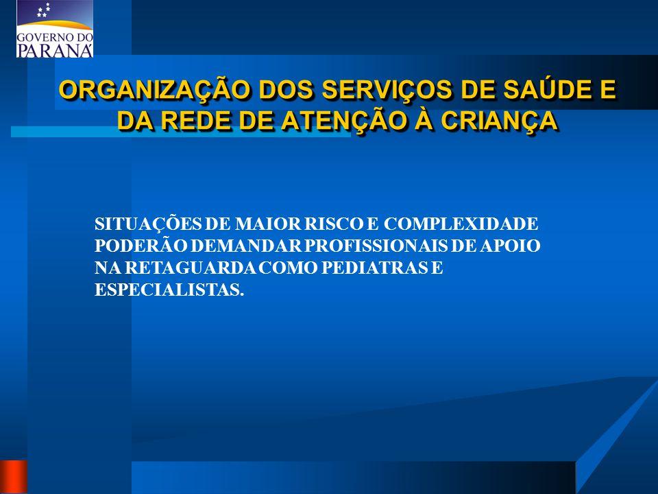 ORGANIZAÇÃO DOS SERVIÇOS DE SAÚDE E DA REDE DE ATENÇÃO À CRIANÇA SITUAÇÕES DE MAIOR RISCO E COMPLEXIDADE PODERÃO DEMANDAR PROFISSIONAIS DE APOIO NA RETAGUARDA COMO PEDIATRAS E ESPECIALISTAS.