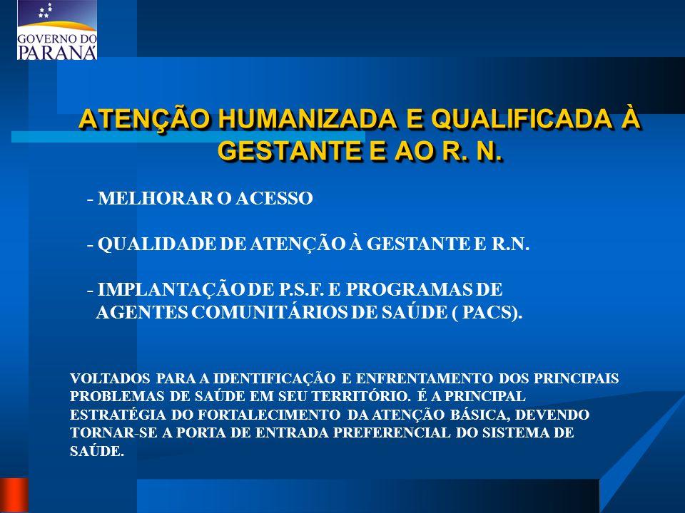 ATENÇÃO HUMANIZADA E QUALIFICADA À GESTANTE E AO R. N. - MELHORAR O ACESSO - QUALIDADE DE ATENÇÃO À GESTANTE E R.N. - IMPLANTAÇÃO DE P.S.F. E PROGRAMA