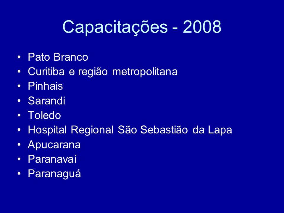 Capacitações - 2008 Pato Branco Curitiba e região metropolitana Pinhais Sarandi Toledo Hospital Regional São Sebastião da Lapa Apucarana Paranavaí Paranaguá
