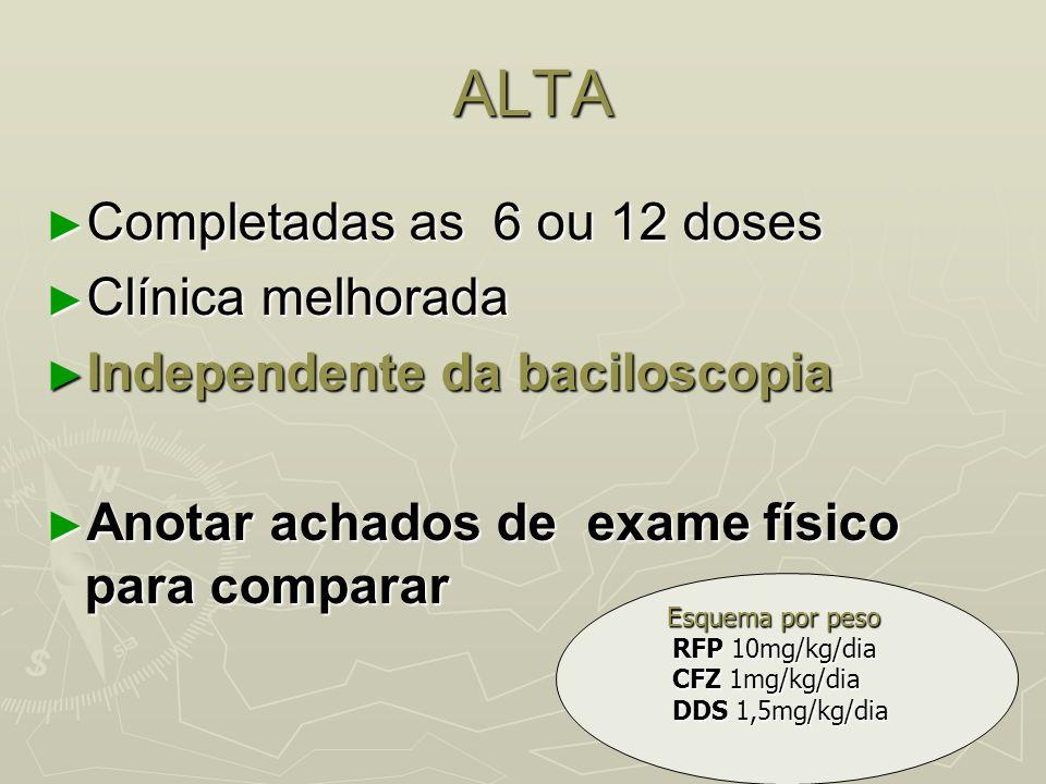 ALTA ALTA ► Completadas as 6 ou 12 doses ► Clínica melhorada ► Independente da baciloscopia ► Anotar achados de exame físico para comparar Esquema por
