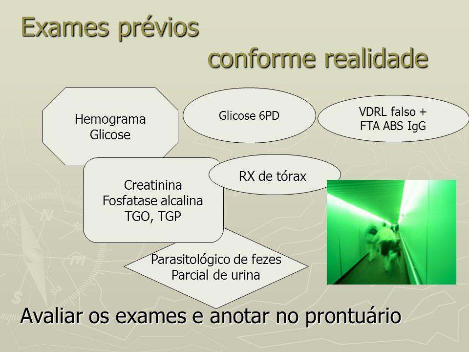 Exames prévios conforme realidade Avaliar os exames e anotar no prontuário HemogramaGlicose Parasitológico de fezes Parcial de urina Creatinina Fosfat