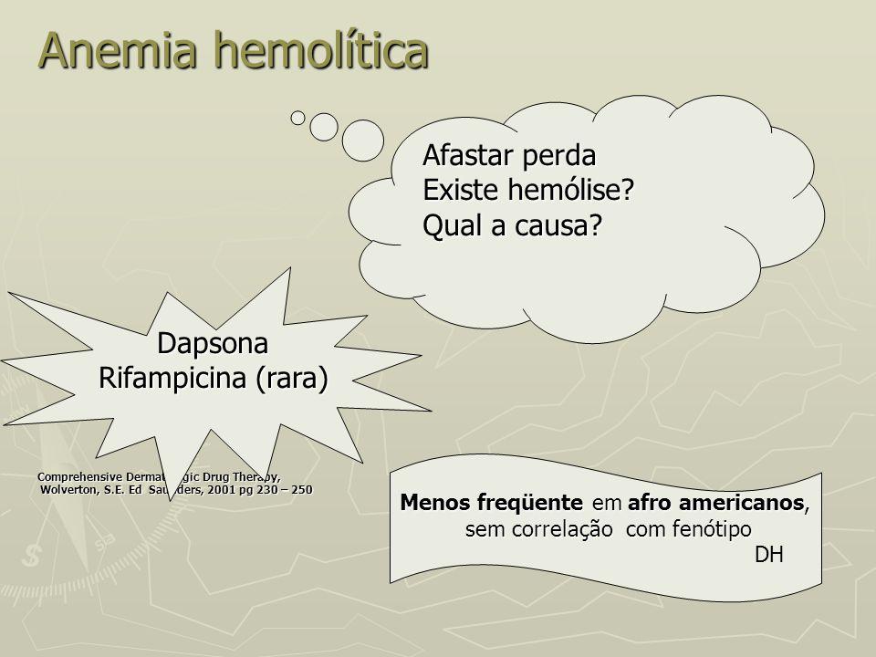 Anemia hemolítica Comprehensive Dermatologic Drug Therapy, Wolverton, S.E. Ed Saunders, 2001 pg 230 – 250 Wolverton, S.E. Ed Saunders, 2001 pg 230 – 2