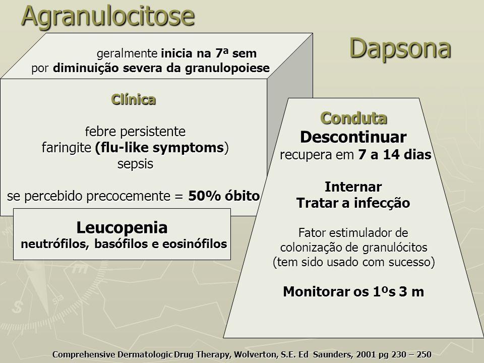 Agranulocitose Dapsona Comprehensive Dermatologic Drug Therapy, Wolverton, S.E. Ed Saunders, 2001 pg 230 – 250 geralmente inicia na 7ª sem geralmente
