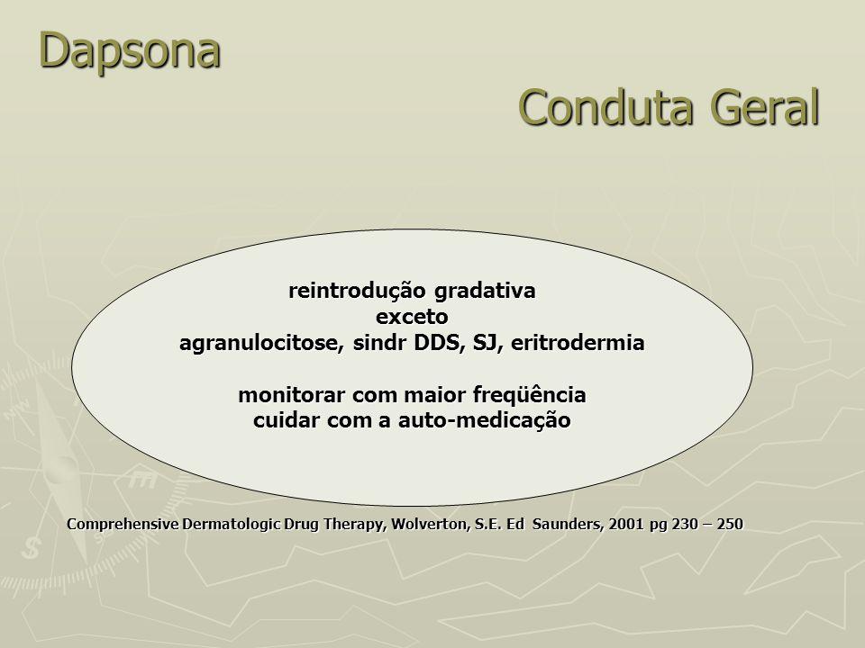 Dapsona Conduta Geral Comprehensive Dermatologic Drug Therapy, Wolverton, S.E. Ed Saunders, 2001 pg 230 – 250 Comprehensive Dermatologic Drug Therapy,