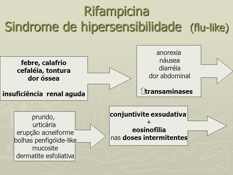 Rifampicina Sindrome de hipersensibilidade (flu-like) febre, calafrio cefaléia, tontura dor óssea insuficiência renal aguda prurido,urticária erupção