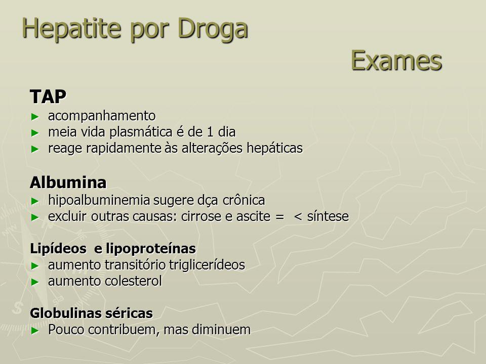 Hepatite por Droga Exames TAP ► acompanhamento ► meia vida plasmática é de 1 dia ► reage rapidamente às alterações hepáticas Albumina ► hipoalbuminemi