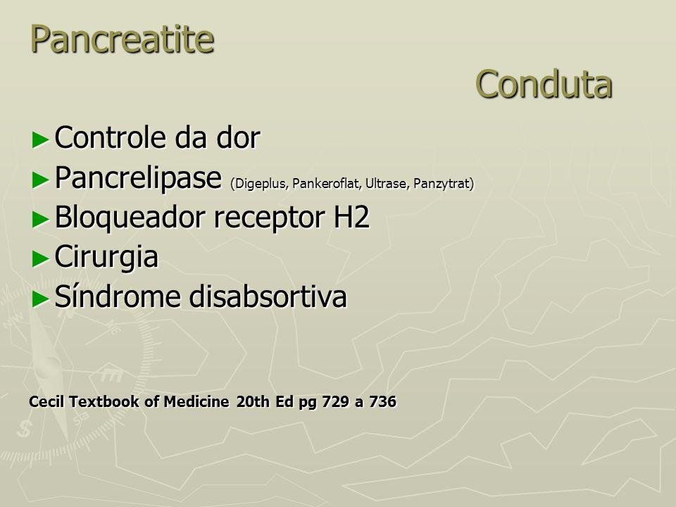 Pancreatite Conduta ► Controle da dor ► Pancrelipase (Digeplus, Pankeroflat, Ultrase, Panzytrat) ► Bloqueador receptor H2 ► Cirurgia ► Síndrome disabs