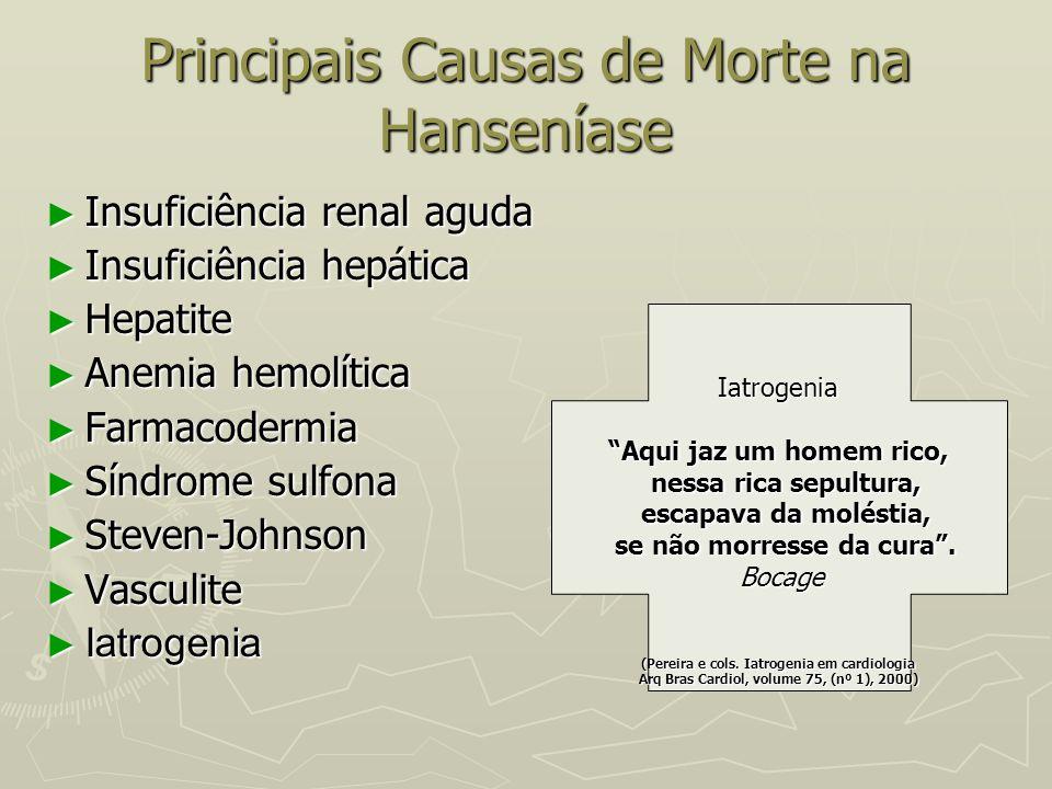 Principais Causas de Morte na Hanseníase ► Insuficiência renal aguda ► Insuficiência hepática ► Hepatite ► Anemia hemolítica ► Farmacodermia ► Síndrom