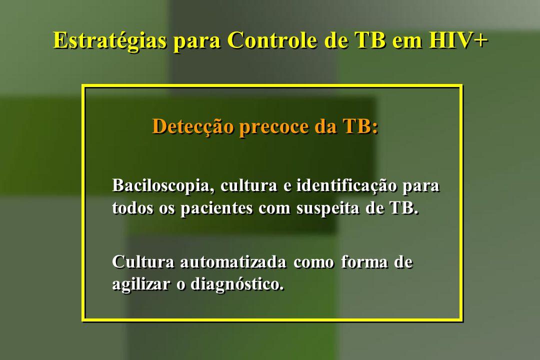Estratégias para Controle de TB em HIV+ Detecção precoce da TB: Baciloscopia, cultura e identificação para todos os pacientes com suspeita de TB. Cult